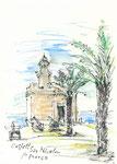 564 Castell San Nicolau - Menorca (2006/2008), 10x15 cm, Bunststift, Aquarell, Tuschefeder