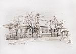 433Gesamtansicht Haus in Saskali von 1943 (Datum unbekannt), 15x10cm, Federzeichnung Sepia