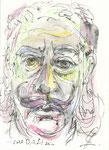 560 Portrait Salvadore Dali (ca. 2006), 10x15 cm, Buntstift, Aquarell