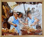 Grelhado do frango - óleo na tela - 50 x 61 cm
