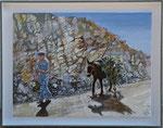 Trabalhador rural com burro no caminho do Pereiras - 30 x 40 cm  -SOLD-