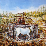 Nora com burro - acrílico com areia na tela - 40 x 40 cm