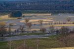 Blick auf das Donauhochwasser oberhalb von Pfohren