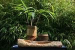 Bambusvase, Lavendelbecher und Bootschale
