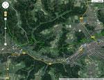 Beispiel: Limeswanderweg bei Schwäbisch Gmünd = grüne Linie                                          Limesverlauf = schwarze Linie