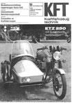 Bild: KFT 1983 Heft 11 (KFT beurteilt MZ ETZ 250 mit Seitenwagen) Titelseite