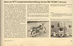 Bild: KFT 1979 Heft 11 (Start zur KFT-Langstreckenbeurteilung mit der MZ TS 250/1 de Luxe) Seite 341