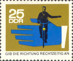 Briefmarke Gib die Richtung rechtzeitig an 25 Pfennig DDR 1966