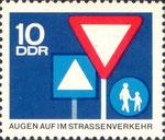 Briefmarke Augen auf im Strassenverkehr 10 Pfennig DDR 1966