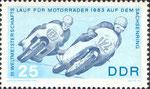 Briefmarke Briefmarke III.Weltmeisterschaftslauf für Motorräder 1963 auf dem Sachsenring 25 Pfennig DDR 1966