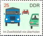 Briefmarke Im Zweifelsfall nie überholen 25 Pfennig DDR 1969