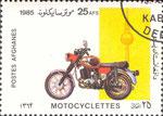 Briefmarke Motocyclettes MZ TS 250-1 DDR 25 AFS  Afghanistan 1985
