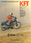 Bild: KFT 1987 Heft 05 (KFT-Zwischenbilanz: MZ ETZ 150) Titelseite