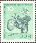 Briefmarke Briefmarke II.Weltmeisterschaftslauf im Motocross 1963 in Apolda 10 Pfennig DDR 1966