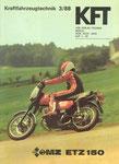 Bild: KFT 1988 Heft (KFT beurteilt MZ ETZ 150 mit 10,5-kW-Motor) Titelseite