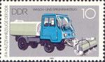 Briefmarke Wasch- und Sprühfahrzeug 10 Pfennig DDR 1982