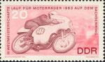Briefmarke III.Weltmeisterschaftslauf für Motorräder 1963 auf dem Sachsenring 20 Pfennig DDR 1966