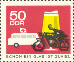 Briefmarke Schon ein Glas ist zuviel 50 Pfennig DDR 1966