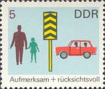 Briefmarke Aufmerksam + rücksichtsvoll 5 Pfennig DDR 1969