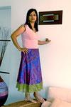 jupe mi longue pure soie violette