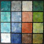 Mosaik, Acryl auf Holz 80x80 cm