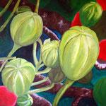 Blütenknospe, Acryl auf Leinwand 80x80cm