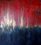 Feuer und Wasser, Acryl, Pigmente, Oel auf Holz 56x52cm