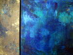 Goldenblue Acryl, Pigmente auf Leinwand 40x40x15cm