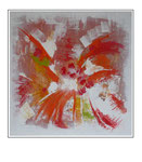 'Explosion of abstract red' Formaat (bxhxd): 82x82x3