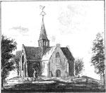 Illustratie uit 'Stadt Alkmaer met haare dorpen', van Gijsbert Boomkamp, 1740.  Op de voorgrond: het kerkhof, aan de westkant van de kerk.