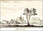 De kerk vanuit het zuidwesten. Ook aan A. Schoemaker toegeschreven, 1725, maar het is de vraag of dit klopt; de kerken zijn nogal verschillend getekend.