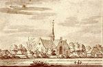 De kerk vanuit het noordwesten. Tekening van A.Schoemaker uit 1725.