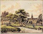 Prent van Jan Bulthuis, 1794. De boerderij met het uithangbord is de boerderij-herberg van Jacob Smit. De brug gaat over de Bogaard sloot. Het slootje achter het bleekveldje is de latere Wik van Kroonenburg.