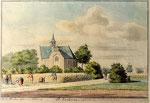 H. de Winter, 1744. Als de vorige tekening, maar beter uitgevoerd en in kleur.  De bomen achter de korenakker staan langs de Kerkelaan.