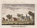 Ingekleurde ets van A. Rademaker Uit: 'Kabinet van Nederlandsche en Kleefsche Oudheden', Amsterdam, 1727. Toch zijn er verschillen met de vorige versie, met name bij de menselijke figuren.