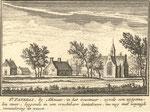 Abraham Rademaker, 1727. Let op het ooievaarsnest op de kerk; vermoedelijk fantasie! De kerk is ook niet erg werkelijkheidsgetrouw. De tekst is later toegevoegd. Het Geestmerambacht heet hier Geestmeer, een 'uitgemalen' meer (droogmakerij).