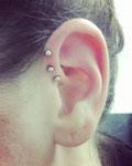3 anti helix piercing oreille par Piou abitbol chez lucky30 à nimes