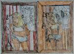 Josef Hofer, ohne Titel, V/VI 2014, Bleistift und Farbstifte auf Papier, 44 x 66 cm, verfügbar / disponible / available: Galerie Christian Berst, Paris