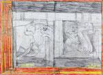 Josef Hofer, ohne Titel, VIII 2012, Bleistift und Farbstifte auf Papier, 44 x 60 cm, Privatbesitz / propriété privée / private property