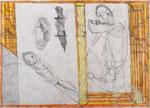 Josef Hofer, ohne Titel, X 2012, Bleistift und Farbstifte auf Papier, 50 x 70 cm, Privatbesitz / propriété privée / private property