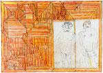 Josef Hofer, ohne Titel, IX 2013, Bleistift und Farbstifte auf Papier, 63 x 88 cm, verfügbar / disponible / available: Galerie am Stein Monika Perzl Schärding