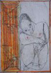 Josef Hofer, ohne Titel, X 2012, Bleistift und Farbstifte auf Papier, 42 x 29,6 cm, Privatbesitz / propriété privée / private property