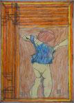 Josef Hofer, ohne Titel, XII 2012, Bleistift und Farbstifte auf Papier. 42 x 29,6 cm, verfügbar / disponible / available: Galerie Christian Berst, Paris