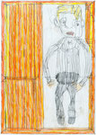 Josef Hofer, ohne Titel, X 2013, Bleistift und Farbstifte auf Papier, 42 x 29,6 cm, verfügbar / disponible / available: Galerie am Stein Monika Perzl, Schärding