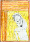 Josef Hofer, ohne Titel, V 2014, Bleistift und Farbstifte auf Papier, 42 x 29,6 cm, verfügbar / disponible / available: Galerie Latal, Zürich