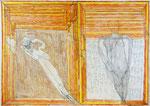 Josef Hofer, ohne Titel, IV 2014, Bleistift und Farbstifte auf Papier, 69,8 x 100 cm, verfügbar / disponible / available: Galerie Christian Berst, Paris