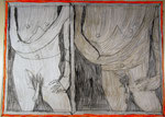 Josef Hofer, ohne Titel, X 2014, Bleistift und Farbstifte auf Papier, 44 x 60 cm, Privatbesitz / propriété privée / private property