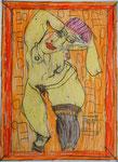 Josef Hofer, ohne Titel, III 2016, Bleistift und Farbstifte auf Papier, 29,6 x 21 cm, Privatbesitz