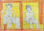 Josef Hofer, ohne Titel, XII 2013, Bleistift und Farbstifte auf Papier, 50 x 70 cm, Privatbesitz / propriété privée / private property
