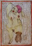 Josef Hofer, ohne Titel, VII 2015, Bleistift und Farbstifte auf Papier, 42 x 29,6 cm, verfügbar / disponible / available: Elisabeth Telsnig, Elsbethen